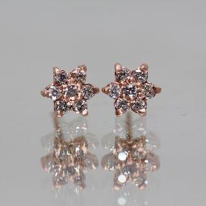 14k Rose Gold Flower Diamonds Studs Earrings